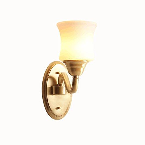 Lampe de mur de cuivre American Country Bedside lampe de cuivre lampe de balcon de jardin allée de style simple décoration de tête unique tout cuivre américain E27 * 1
