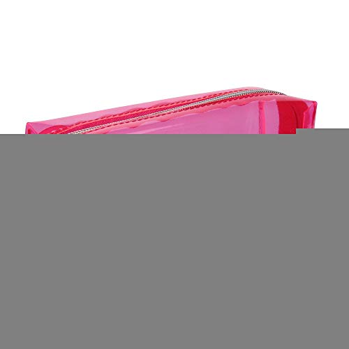 Bobopai Large Transparent Solid Color Zipper Cosmetic Jelly Pencil Case Office School Stationery (Hot Pink)