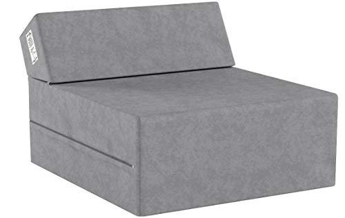Natalia Spzoo Matelas de jeunesse lit fauteuil futon pliable pliant choix des couleurs - longueur 160 cm (Gris)