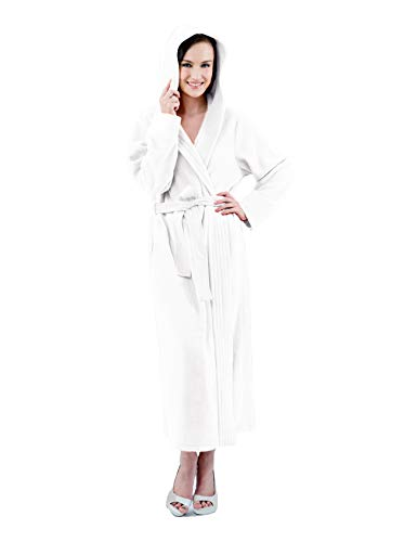 Raikou Damen Bademantel, Morgenmantel, Saunamantel mit Kapuze, Malibu super flauschig und weich alle Größen (36/38, Cream) - Cream Mantel