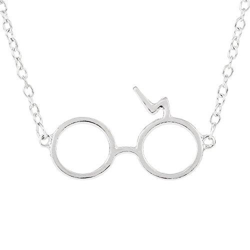 Heazon Blitz Gläser Halskette Silber Kette mit Anhänger Lang 55cm Damen Schmuck Geschenk für Junge Mädchen Kinder-GD087