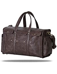 Brown Riveted Leatherette 18 Ltr Travel Duffel Bag/Cabin Bag With Detachable Strap