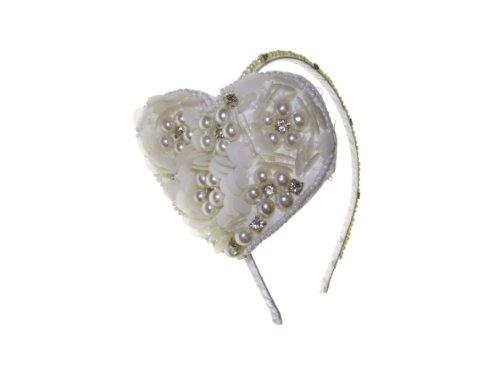 Johnny Loves Rosie Cœur monté sur barrette incrusté de perles et de gemmes Crème