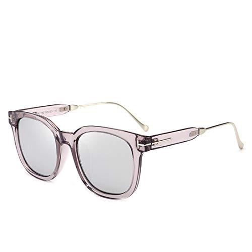 Retro Vintage Sonnenbrille, für Frauen und Männer Großen Rahmen quadratische Form farbige Linse UV-Schutz Sonnenbrille für Frauen im Freien Fahren Reisen UV-Schutz (Farbe : Sliver)