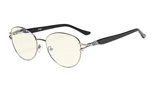 Eyekepper-Computer Brille,Blaulichtfilter Brille,Stilvoll Katzenauge Round Frame Women,Gunmetal