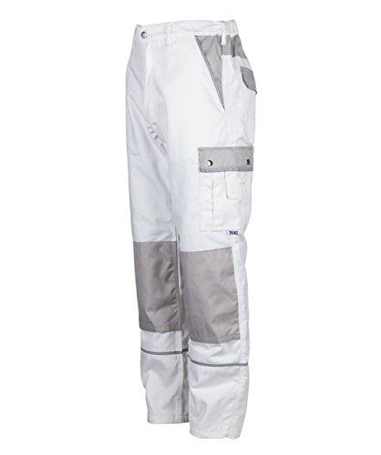 TMG® - Herren Bundhose/Cargohose für Maler - strapazierfähig - Weiß (W34 R / EU50) (Maler Hose)