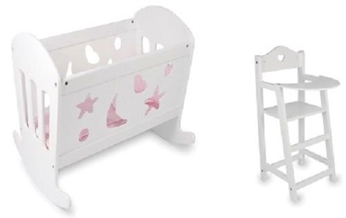 Rocking Wooden Dolls Cradle Cot Bed High Chair Toy