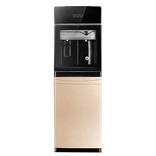 L&JING Top-Loading Wasserkühler Dispenser 5 Gallon Normale Temperatur kaltes Wasser und heiße Flasche Laden Elektro Primo, mit Speicherschrank (Gold)