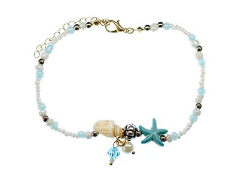 Miniblings Perlen Muschel Fußkettchen Fußkette Band Kette Sommer Seestern Blau