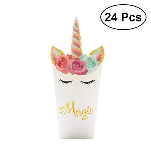 (YEAHIBABY Einhorn Popcorn Boxen,Einhorn Party Favor Popcorn Treat Boxen Popcorn-Behälter für Baby Shower Birthday Party Supplies,24Pcs)