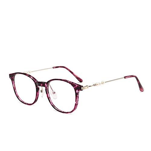 Retro-Unisex-Brille mit eleganter Perle, dünnes Metallgestell mit klarer Linse Vintage Geek-Lesebrille, nicht verschreibungspflichtige klassische Vogue Optical Eyewear (Color : Red, Size : M)