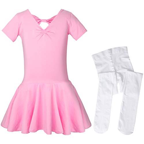 SANMIO Mädchen Ballettkleid+Ballett-Strümpfe Kinder Ballettanzug Tütü Ballett Trikot Turnanzug Kurzarm Ballettkleid mit Röckchen 7 Farben (2-14 Jahre) - Damen-tanz-trikot Pink