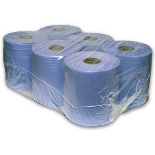 18 Pack 2 Ply Embossed Centre Feed Paper Wipe Rolls