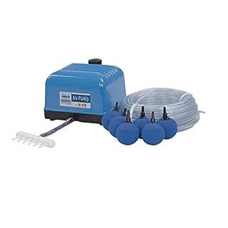 Aquaforte Hi-Flow V-60 Luftpumpenset, 25 m Luftschlauch (Ø 4 x 6 mm), 10x Ø 5 cm Luftsteinen