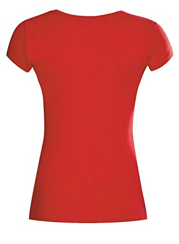 oodji Ultra Donna T-Shirt con Paillettes Rosso (4591P)