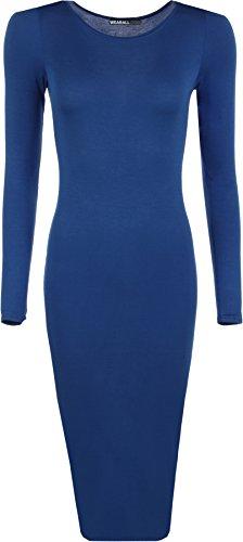 WearAll - Damen Bodycon Elastisch Schmucklos Dress Lange Ärmel Rundhalsausschnitt Midi Kleid - 6 Farben - Größe 36-42 Marineblau
