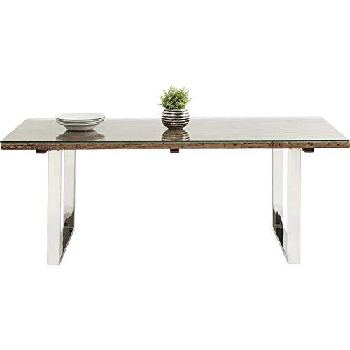 Kare design - Table à manger industrielle bois et acier 200 RUSTICO