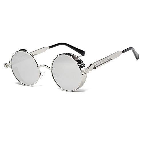 FUZHISI Sonnenbrillen Runde Metall Sonnenbrille Männer Frauen Brillengestell Sonnenbrille UV400, Weiß