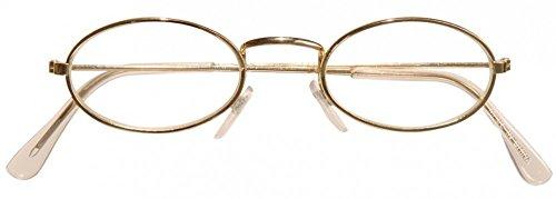 Brille mit goldenem Rand für Weihnachtsmann Oma Opa Zwerg Nikolaus Weihnachten:oval