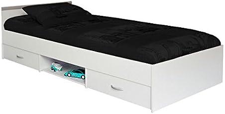 Funktionsbett 90*200 Cm Weiß Mit 2 Bettkästen + Offenes Fach Kinderbett  Jugendbett Jugendliege Bettliege