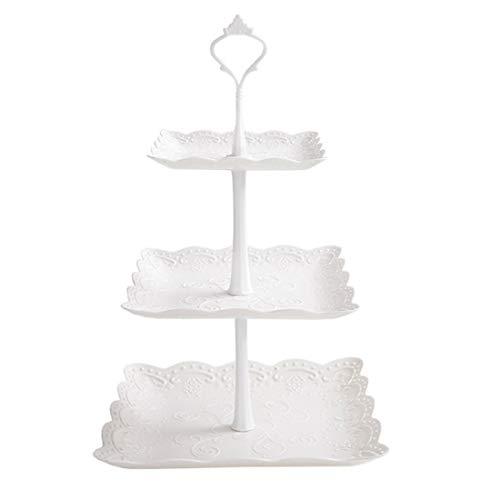 LVPY Etagère aus Kunststoff mit 3 Etagen, Servierplatte, Cupcake Ständer, Weiße
