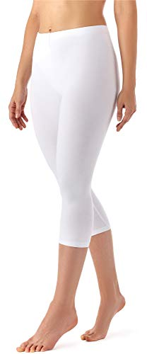 Merry Style Damen Leggings 3/4 aus Viskose MS10-144 (Weiß, M)