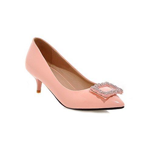 Voguezone009 Senhoras Puxar Pu De Couro Pontas Do Dedo Do Pé Meados Calcanhar Bombas Sapatos Embutidos Rosa