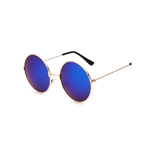 Sport-Sonnenbrillen, Vintage Sonnenbrillen, New Fashion Candy Vintage Round Spiegel Sunglasses Women Luxury Brand Original Design Black Sun Glasses Female Oculos GoldBlue