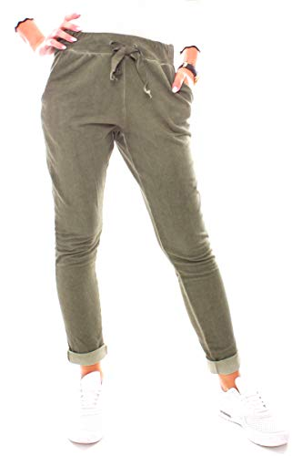 Damen Vintage Sweat Jersey Sport Relax Hose Sweatpants Jogginghose Joggpants Jogger Lang Baumwolle Einfarbig Khaki XS - 34 (S)