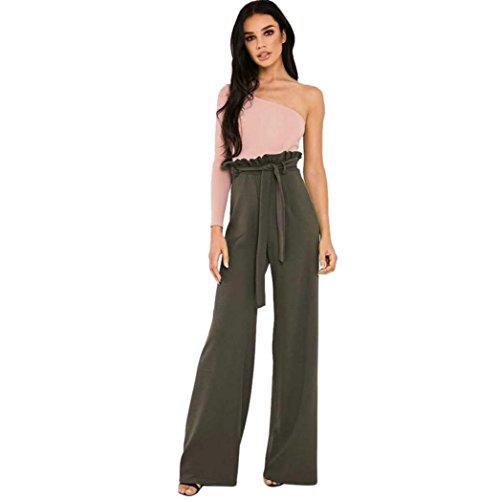 Damen Freizeit Hohe Taillen Hosen, ZIYOU Loose Fit Clubwear mit Gurt Jogginghose Einfarbig (Grün, Asiatische Größe L) (Taille Wollmischung)