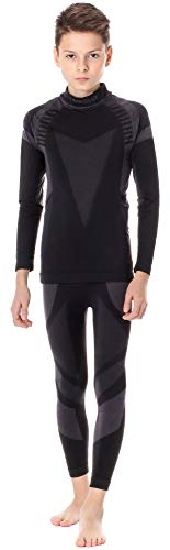 Ladeheid completo maglia e calzamaglia termiche bambino e bambina lass0005 (nero/argento, 134-140)