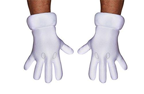 Mario Kostüm Accessoires - Disguise Mario Handschuhe Kostüm-Accessoire für Erwachsene Weiss Einheitsgröße