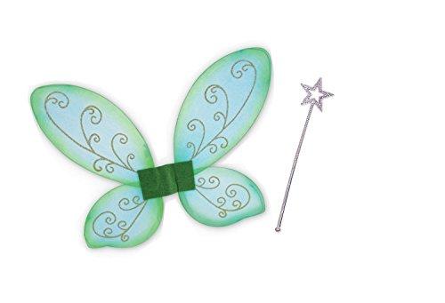 Elfen-Set, gold oder silber Stab mit Flügel grün, Fee, Zauber, Märchen, märchenhaft, zauberhaft, Elfe (Elfen Kostüme Rot Grün Und)