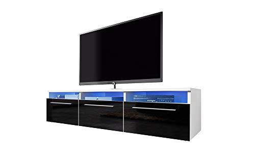 Selsey Lavello - Meuble TV/Banc TV (140 cm, Blanc Mat/Noir Brillant avec éclairage LED)