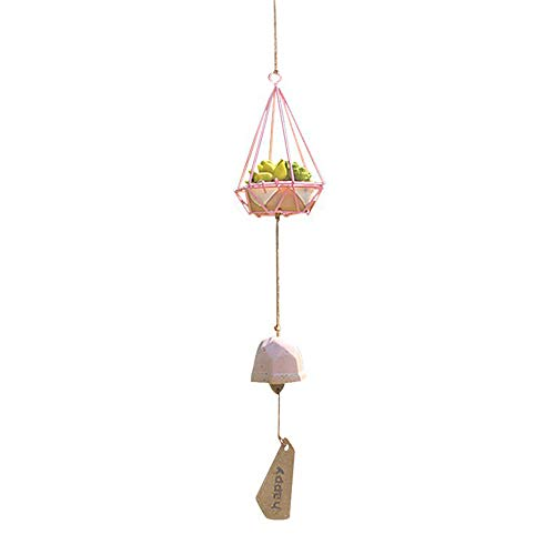 xinzhi Anhänger Wind Bell Windspiel Keramik Simulationen Sukkulenten Ornament Desktop Blumentopf Balkon Garten Liefert Bonsai Wohnkultur (Pink Bells Wedding)