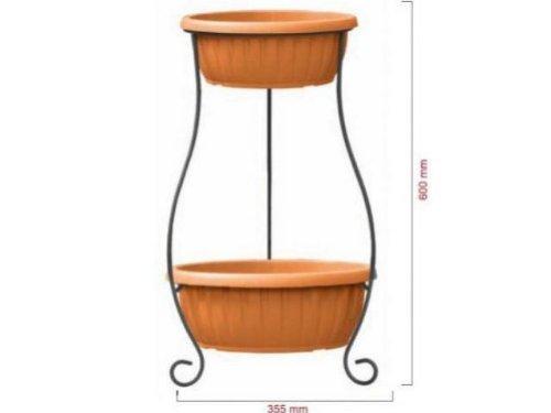 Kit portavaso con 2 vasi ideale per giardino terazza balcone