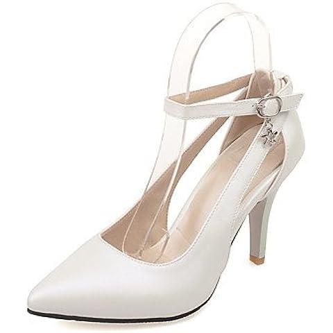 Da donna-Tacchi-Matrimonio / Formale / Serata e festa-Cinturino alla caviglia-A stiletto-PU (Poliuretano)-Nero / Rosa / Rosso / Bianco , black , us10.5 / eu42 / uk8.5 / cn43