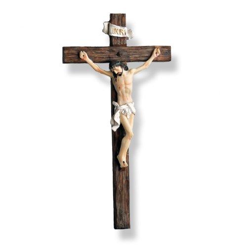 Jesus Christus am Holz Kreuz - Kruzifix Wandkreuz 30 x 15 cm (Beste Qualität)