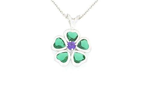 2.5 Ct Emerald Heart Bezel & Amethyst Pendant .925 Sterling Silver Rhodium Finish