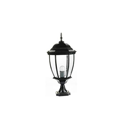 Wetterfeste Gartensäule Scheinwerfer Europäische Retro Dekorative Stehlampe Im Freien Für Firmengarten Einfahrt Tor Park Säule Laterne E27 (Color : Black)
