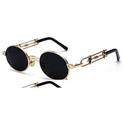 Daawqee Prämie Sonnenbrillen,Brillen,Retro Steampunk Sunglasses Men Round Vintage NEW Metal Frame Gold Black Oval Sun Glasses For Women Red Male Gift as show in photo brown