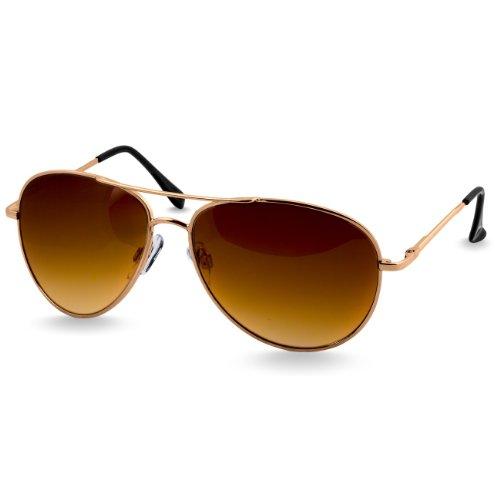 Caspar SG013 klassische Unisex Retro Piloten Sonnenbrille, Farbe:gold/braun getönt