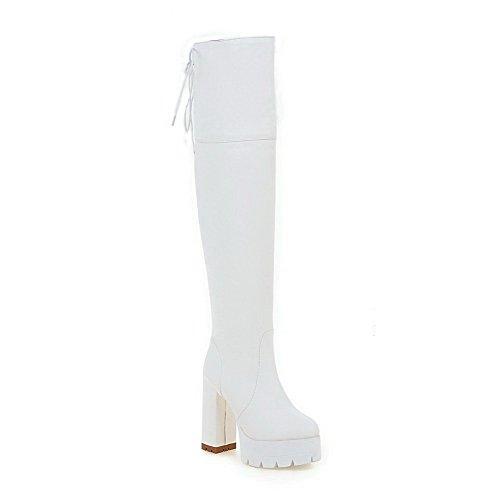 VogueZone009 Donna Punta Tonda Tacco Alto Alta Altezza Puro Stivali con Metallo Bianco