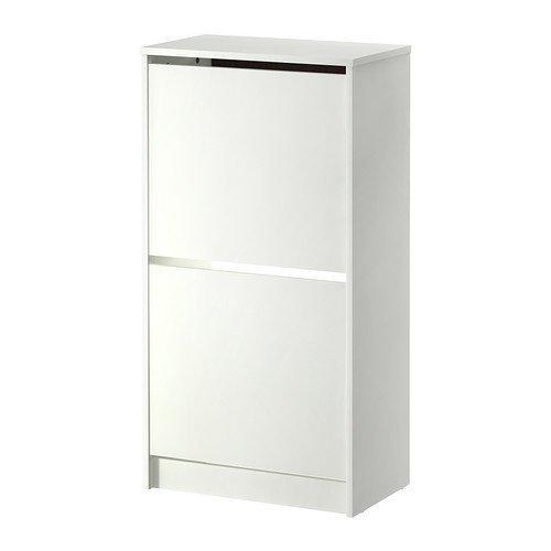 IKEA BISSA - armario para zapatos con 2 compartimentos, blanco - 49 x 93 cm