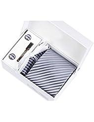 Coffret Cadeau Moscou - Cravate gris anthracite à rayures gris clair satiné, boutons de manchette, pince à cravate, pochette de costume