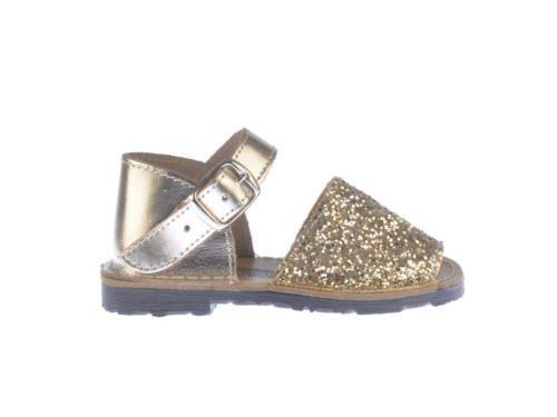 Sandales en Menorquinas Glitter 1ère Calzadura mod.199. Chaussures Enfant Tous Peau Made in Spain Produit de Qualité. Rose - multicolore