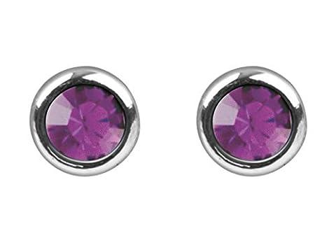 pedientes Damen 925Sterling Silber oder Mädchen, rund mit Swarovski® Elements Amethyst Glas, 6,5mm. pe160028