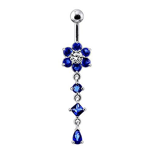 Bijou de Corps Anneau de nombril Argent Sterling 925 motif Fleur en pierre avec pendant a 3 pierres Dark Blue
