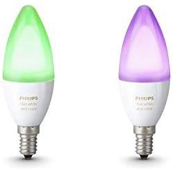 1 de Philips Hue White and Color Ambiance - Pack de 2 bombillas LED E14, 6.5 W, iluminación inteligente, bombillas, cambian de color (compatible con Amazon ...