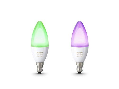 Philips Hue White and Color Ambiance - Pack de 2 bombillas LED E14, 6.